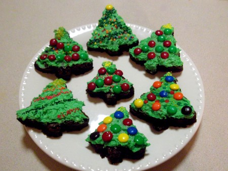 Christmas Tree Brownies with Buttercream Frosting
