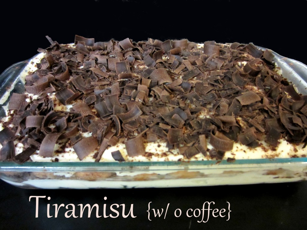 Tiramisu made without coffee and raw eggs
