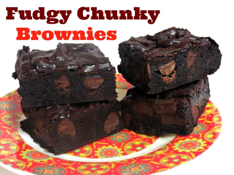 They are chocolately, fudgy, have a pretty crackly brownie top and are packed full of chocolate chunks!