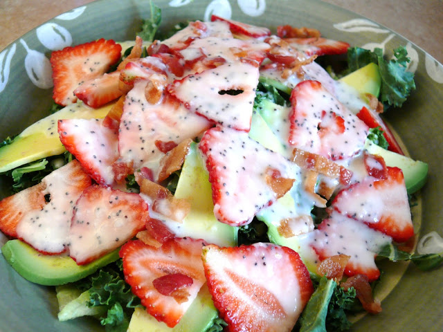 Kale, Strawberry and Avocado Salad with Light Poppy Seed Dressing
