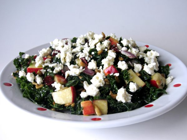 Kale Salad with Craisins, Apple & Feta