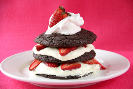 Dark Chocolate Strawberry Shortcakes with Amaretto Cream