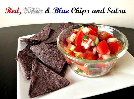 Red, White and Blue Chips and Salsa