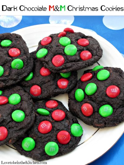 Dark Chocolate Christmas M&M Cookies
