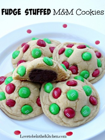 Fudge Stuffed M&M Cookies