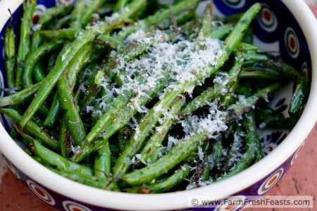Grilled Green Beans with Garlic Scape Pesto and Parm