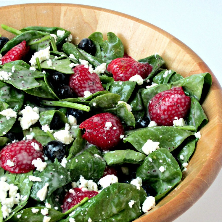 Red, White and Blue Spinach Salad