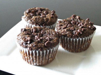 Fudgy Chocolate Banana Flax Muffins