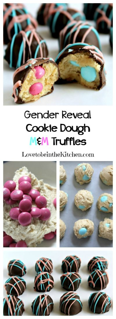 Gender Reveal Cookie Dough M&M Truffles