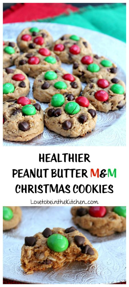 Healthier Peanut Butter M&M Christmas Cookies