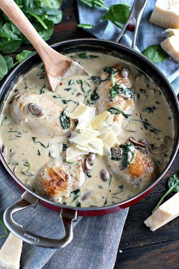 One Pan Creamy Parmesan Mushroom Chicken