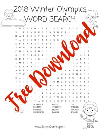 2018 Winter Olympics Word Search