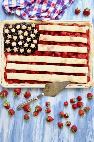 American Flag Strawberry Blueberry Pie