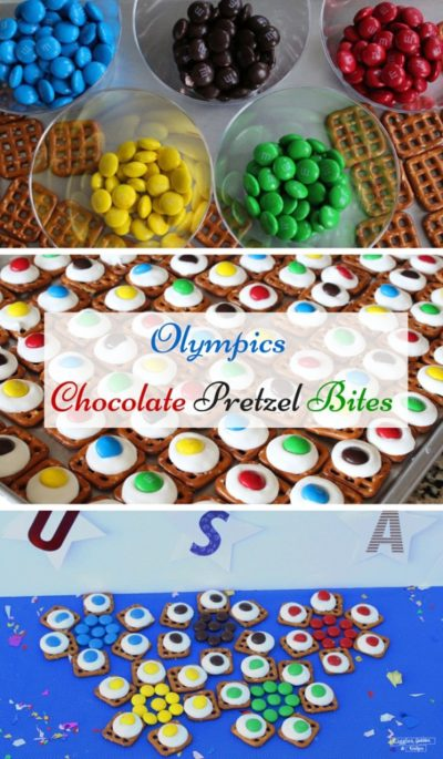 Olympics Chocolate Pretzel Bites
